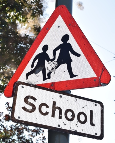 school sign with the words school